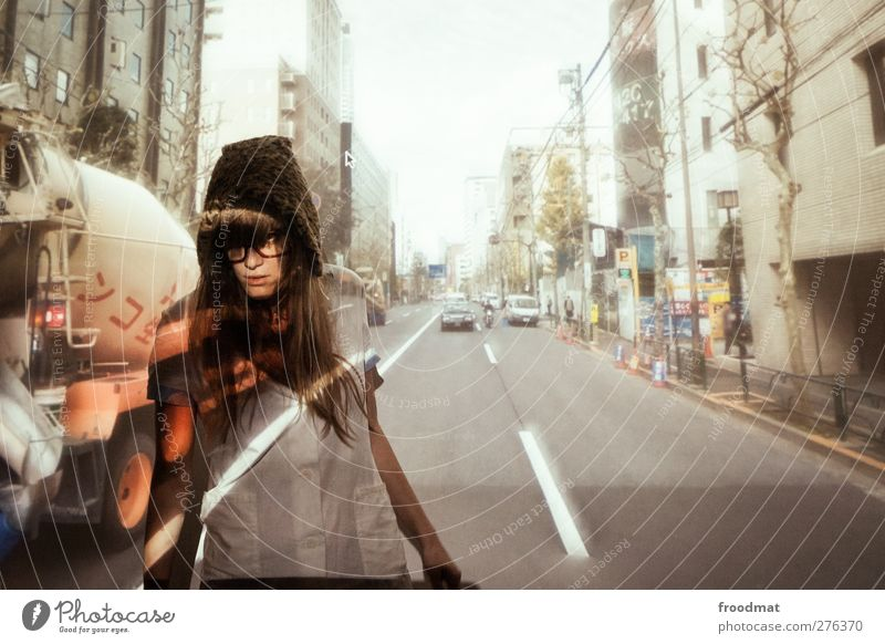 Human being Woman Youth (Young adults) Adults Street Feminine Young woman Blonde Transport Tourism Dangerous Uniqueness Curiosity Longing Cap Brave