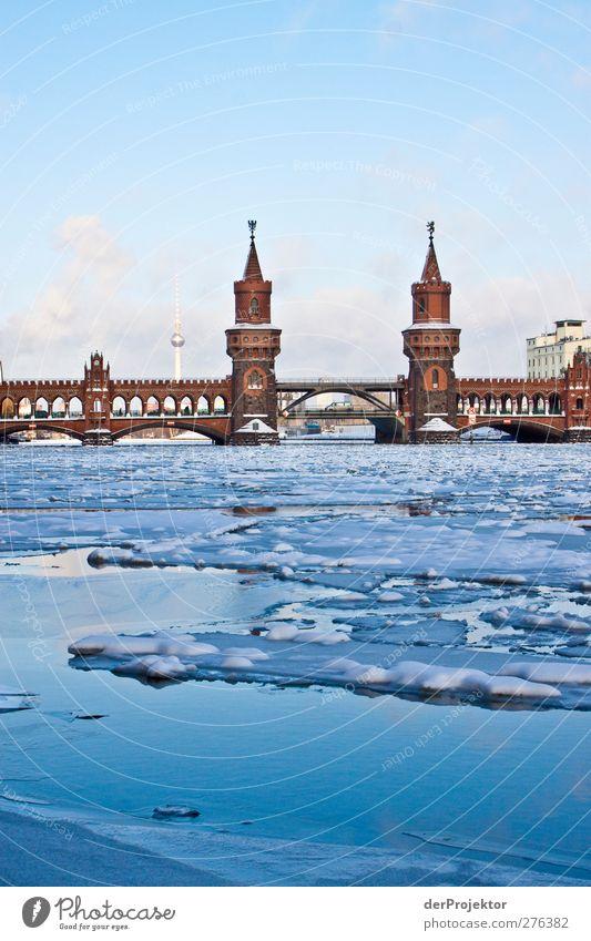 Blue Heaven Winter Architecture Bridge Frozen Landmark Capital city Traffic infrastructure Positive Berlin Original Famousness Spree Ice floe City