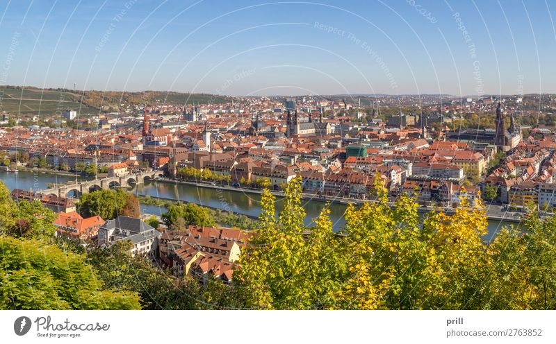 Wuerzburg in Bavaria House (Residential Structure) Culture Autumn Brook River Town Dome Bridge Building Architecture Roof Old Historic Tradition Würzburg