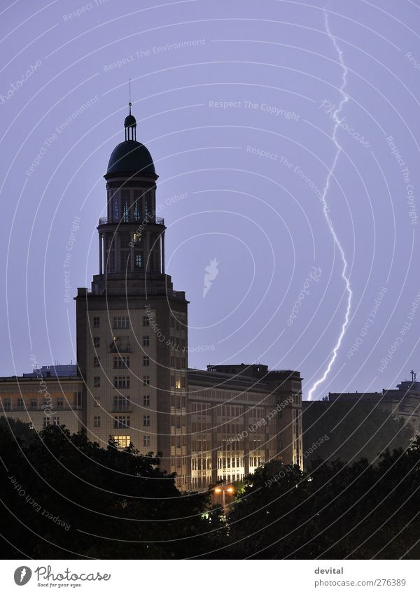 thunderstorms Summer Climate change Thunder and lightning Lightning Berlin Town House (Residential Structure) High-rise Tower Manmade structures Building