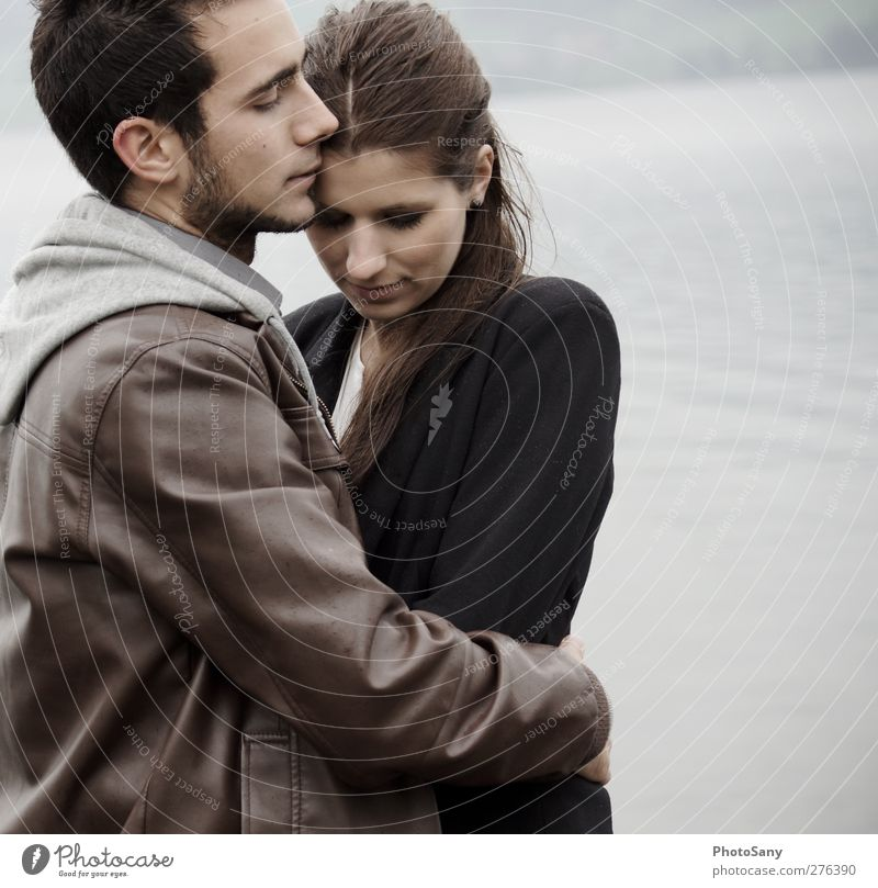 It's safe with him. Human being Masculine Feminine Woman Adults Couple 2 Emotions Contentment Passion Trust Safety Protection Safety (feeling of) Senses
