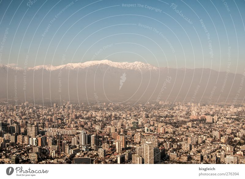 Santiago de Chile Sky Winter Mountain Andes Peak Snowcapped peak South America Capital city Skyline High-rise Blue Brown Gray White Colour photo Exterior shot