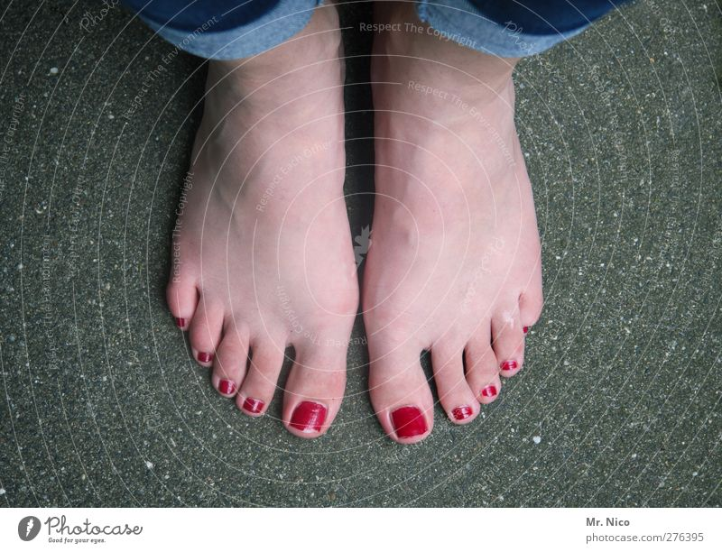 lacquered Personal hygiene Pedicure Nail polish Feminine Skin Feet Stand Wait Red Barefoot Toes stood idle Styling Odor Legs Perspective Site Abstract Varnished