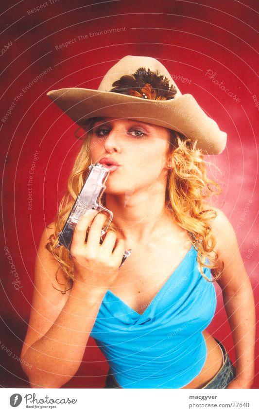 Woman Blonde Cowboy Handgun