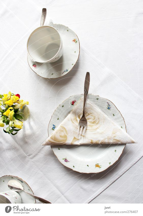 """""""Loaded for coffee"""" Crockery Plate Cup Cutlery Fork Spoon Decoration Flower Bouquet Simple Yellow Gray Silver White Calm Purity Modest Style Stagnating"""