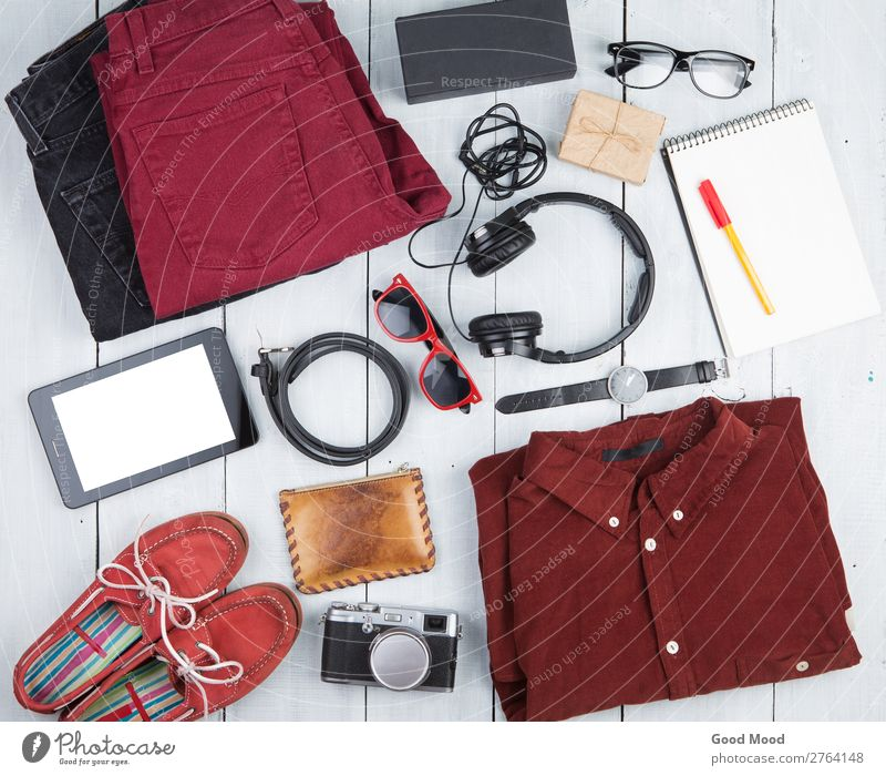tablet pc, clothes, headphones, camera, shoes, watch Vacation & Travel Old White Red Wood Copy Space Trip Retro Vantage point Table Footwear Computer Gift