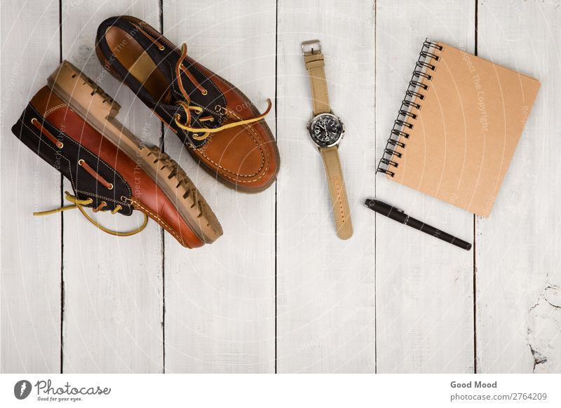 Travel concept - shoes, notepad and watch Vacation & Travel Man White Adults Wood Boy (child) Fashion Trip Retro Vantage point Table Footwear Clothing Observe