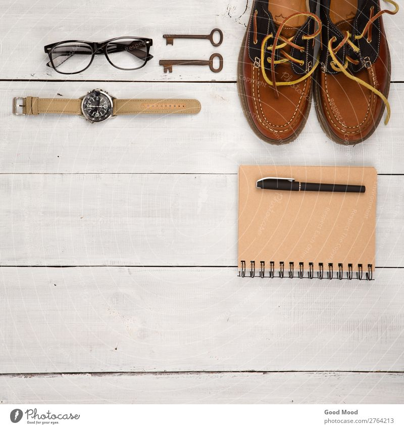 shoes, notepad, watch, glasses and vintage keys Vacation & Travel Man White Adults Wood Boy (child) Fashion Trip Retro Vantage point Table Footwear Clothing