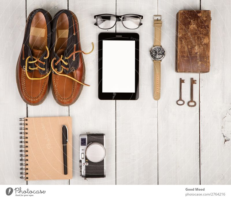 shoes, camera, tablet pc, notepad, watch, glasses Vacation & Travel Man White Adults Wood Boy (child) Fashion Trip Retro Vantage point Table Footwear Computer