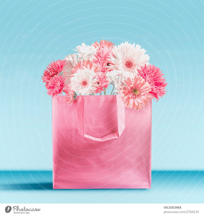 Pink shopping bag with gerbera flowers Shopping Style Design Summer Decoration Feasts & Celebrations Valentine's Day Mother's Day Wedding Birthday Flower