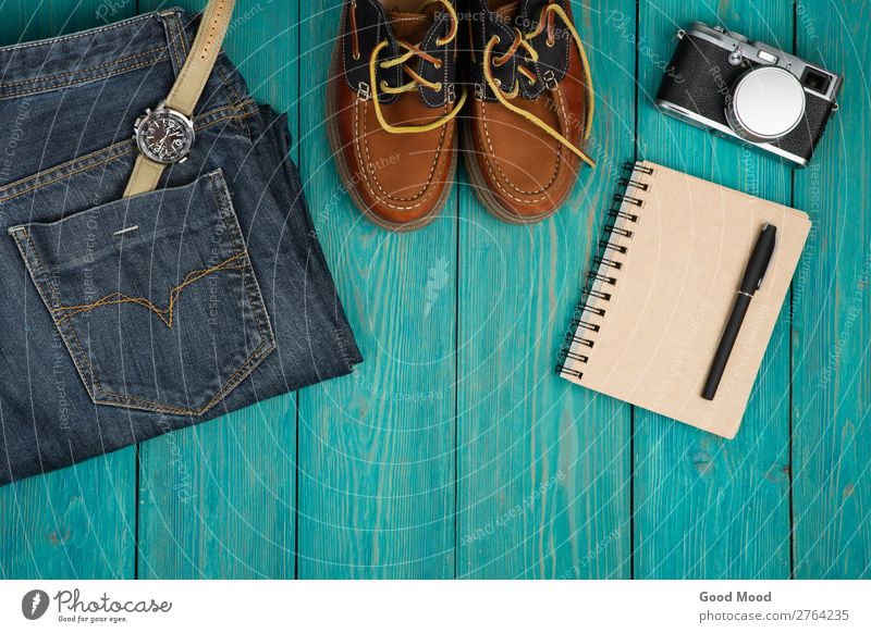 Travel concept - shoes, jeans, notepad, camera Vacation & Travel Man Blue Adults Wood Boy (child) Fashion Trip Retro Vantage point Table Footwear Clothing