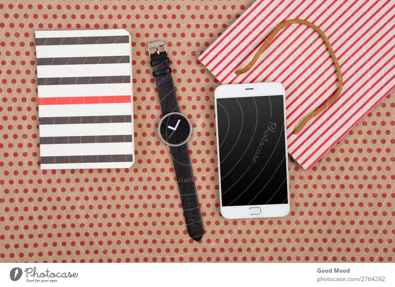 shopping bag, notepads, watch and smartphone Shopping Style Design Office Craft (trade) Business Telephone PDA Screen Technology Musical notes Pack Paper