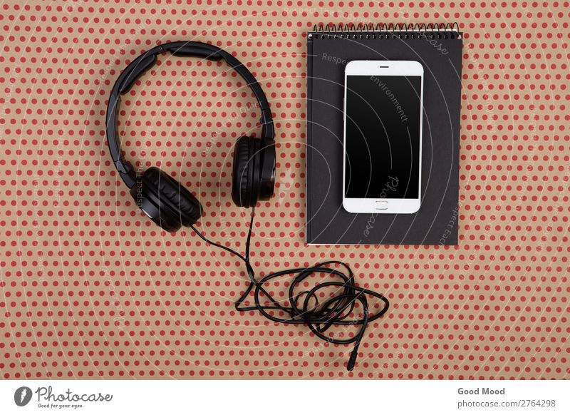 big headphones, white smartphone and notepad Colour Red Black Natural Style Business Office Design Modern Vantage point Music Technology Shopping Paper Circle