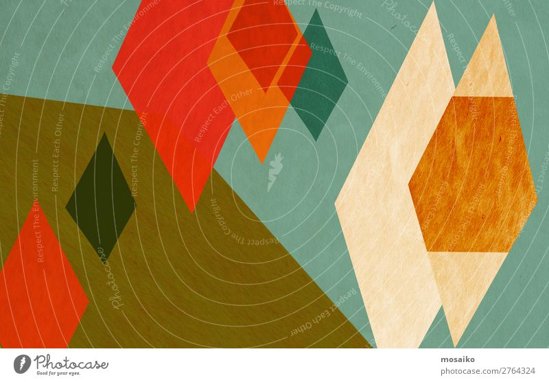 colorful geometric shapes - paper texture - graphic design Style Design Decoration Wallpaper Craft (trade) Paper Rust Esthetic Dirty Happy Retro Multicoloured