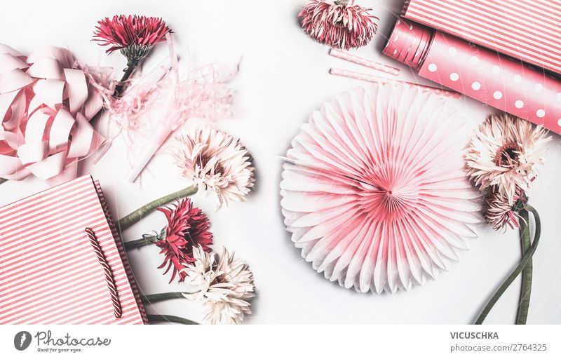 Pink and white flowers, paper bag and bows Style Design Joy Decoration Party Event Feasts & Celebrations Mother's Day Wedding Birthday Packaging Balloon Bouquet