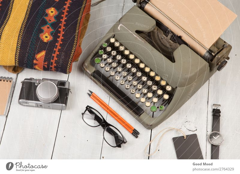 typewriter, notepad, camera, clothes, glasses and watch Vacation & Travel Old White Wood Trip Retro Vantage point Table Clothing Observe Things Reading Camera