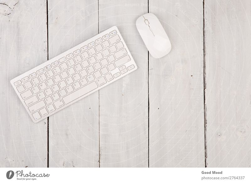Wireless slim keyboard and mouse on wooden background Apple Work and employment Workplace Office Business Computer Notebook Tool Technology Internet Wood