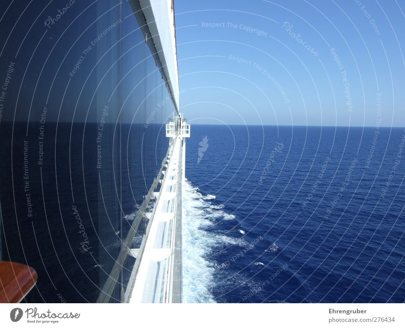 Double Horizon Far-off places Cruise Summer Ocean Waves Water Sky Cloudless sky Sunlight Beautiful weather Navigation Cruise liner On board Relaxation Blue