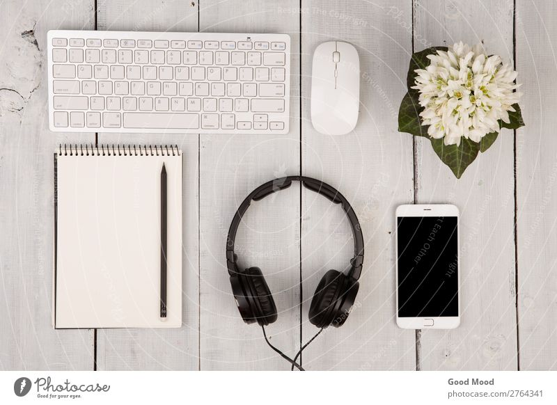 keyboard and mouse, smartphone, notepad, headphones White Flower Wood Style Business Fashion Work and employment Office Vantage point Music Technology Computer