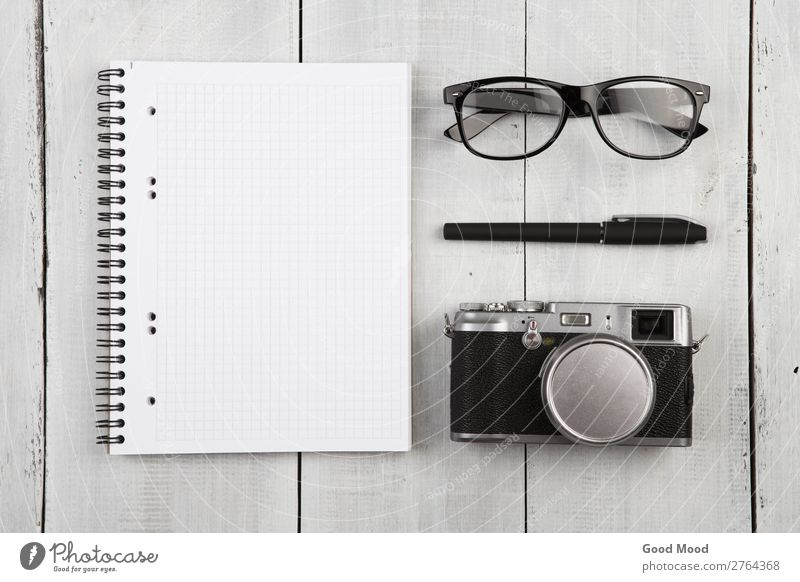 workplace with notepad, camera, pen and glasses Vacation & Travel Old White Black Wood Business Office Retro Vantage point Table Photography Paper Cool (slang)