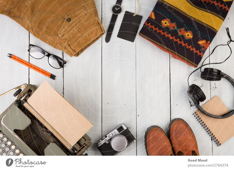 typewriter, camera, clothes, glasses, watch Vacation & Travel Old White Wood Copy Space Trip Retro Vantage point Table Footwear Clothing Observe Things Reading