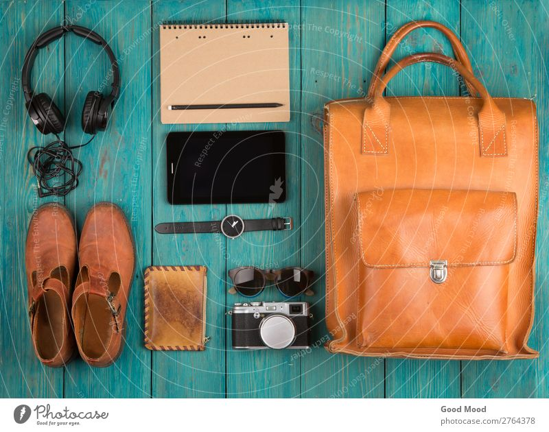 tablet pc, clothes, headphones, camera, shoes, watch Vacation & Travel Old White Red Wood Copy Space Trip Retro Vantage point Table Footwear Computer Clothing