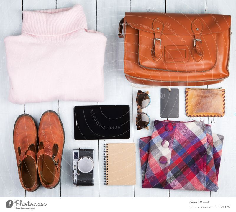 tablet pc, clothes, headphones, camera, shoes and bag Vacation & Travel Old White Red Wood Copy Space Pink Trip Retro Vantage point Table Footwear Computer