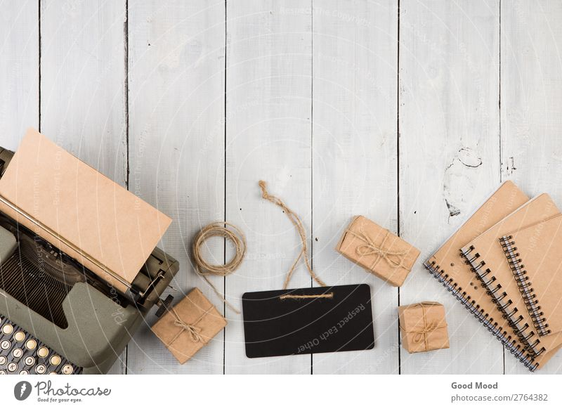 vintage typewriter, notepads, present boxes and blackboard Desk Table Blackboard Workplace Office Craft (trade) Business Rope Art Book Paper Wood Signage