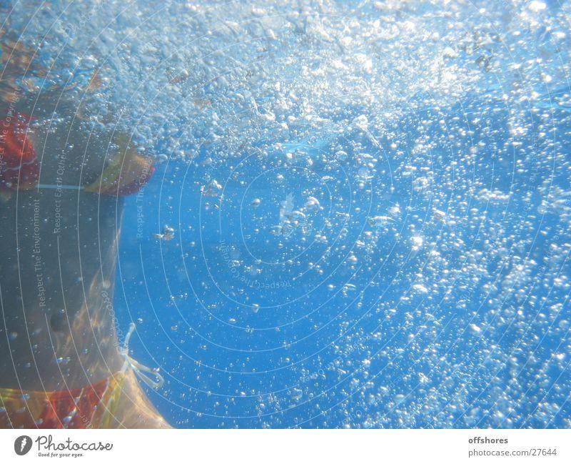 underwater Woman Bikini Underwater photo Air bubble Swimming pool Blue Water canon