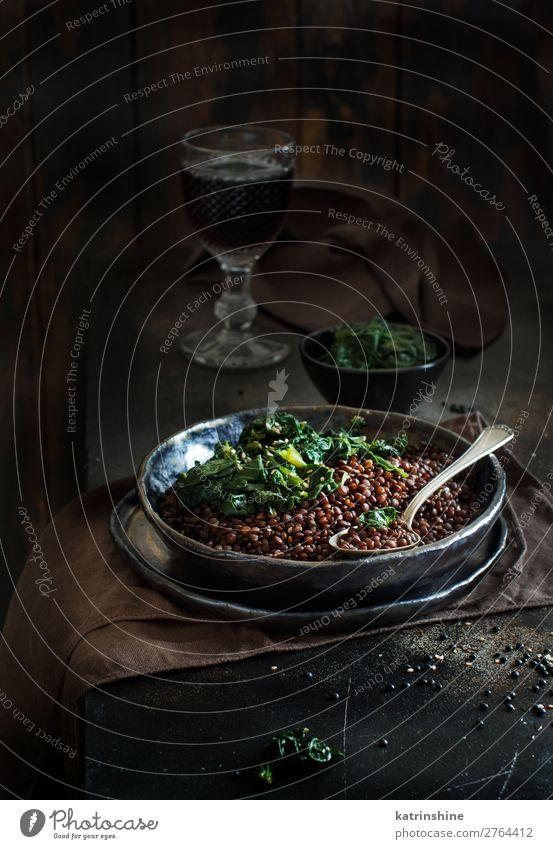 Black lentils and spinach stew Vegetable Vegetarian diet Plate Spoon Dark Lentils legumes Beluga Spinach Vegan diet food garnish healthy ready-to-eat Arabia