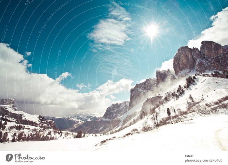 winter light Vacation & Travel Sun Winter vacation Environment Nature Landscape Elements Sky Clouds Climate Beautiful weather Snow Rock Alps Mountain Peak