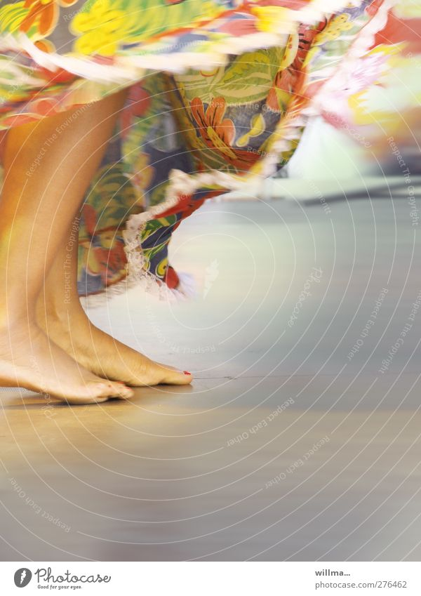 Naked feet rhythmically dancing in long colorful skirt Dance Feminine Legs Feet Human being Event Skirt Exotic Esthetic Movement Culture