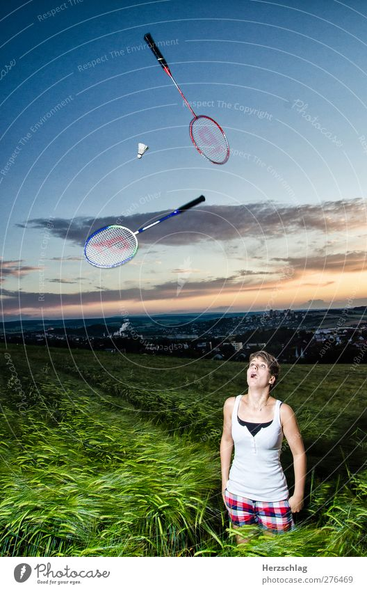 In the dark it can be rumoured well Joy Leisure and hobbies Badminton Ball Young woman Youth (Young adults) 1 Human being 18 - 30 years Adults Discover Looking