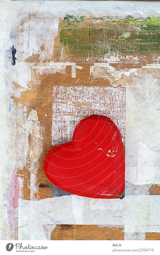 Red heart in front of a wooden wall, with graffiti and art. Design Feasts & Celebrations Valentine's Day Mother's Day Wedding Birthday Art Exhibition