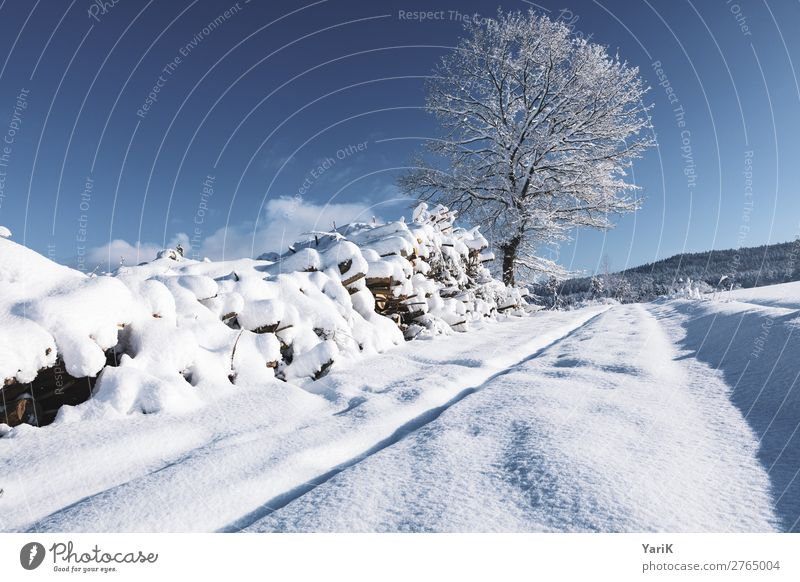winter way Nature Landscape Sky Sunlight Winter Climate Climate change Weather Beautiful weather Ice Frost Snow Field Cold Blue Blue sky White Bavaria Germany