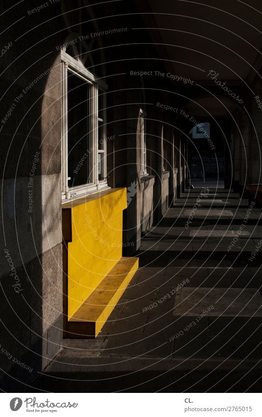 course with yellow Deserted House (Residential Structure) Building Architecture Wall (barrier) Wall (building) Window Corridor Wood Dark Creepy Yellow Black