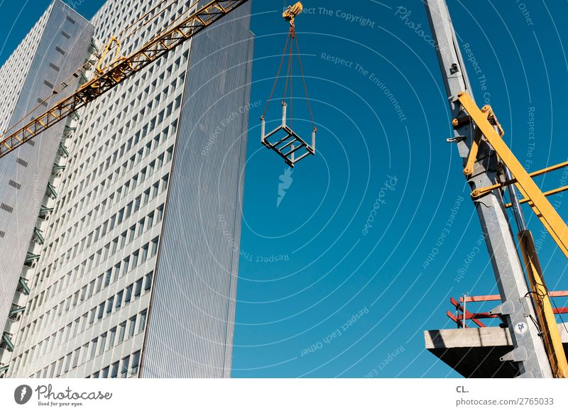 show site construction site Work and employment Profession Workplace Construction site Economy Industry SME Company Cloudless sky Beautiful weather Duesseldorf