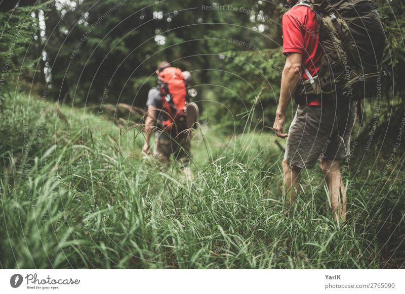 Hiking day 12000m 4 Leisure and hobbies Vacation & Travel Tourism Trip Adventure Far-off places Freedom Camping Summer Masculine Man Adults Friendship