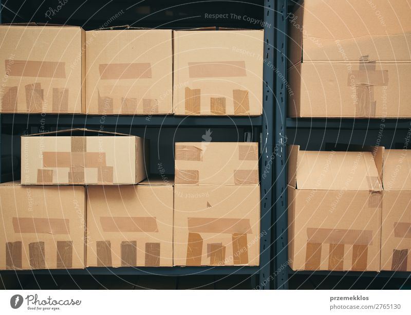 Cardboard boxes on shelves File Packaging Package Large Brown archive Carton depository distribution equipment many room shelf Arrange sorted Stack stock