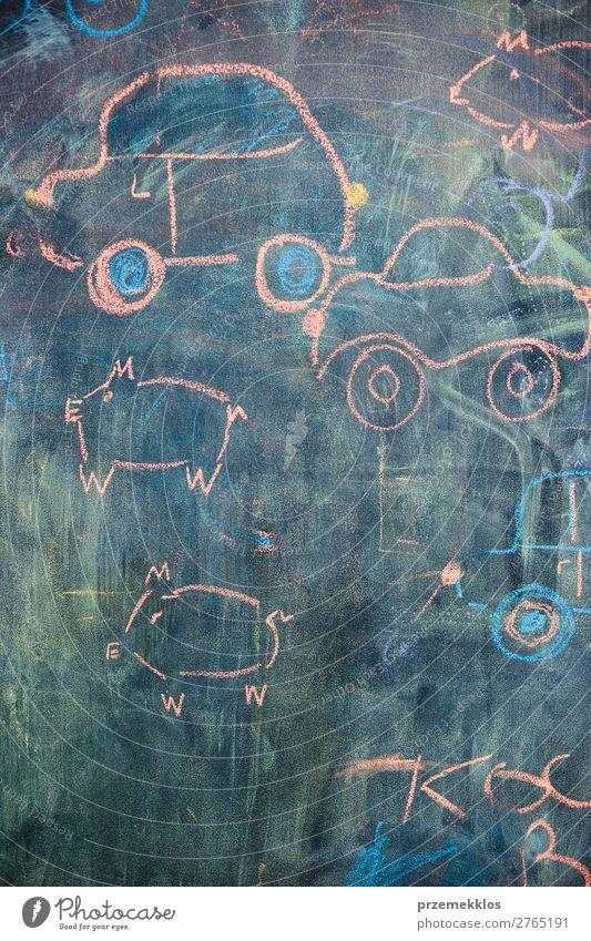 Childish colorful chalks drawings on blackboard Happy School Classroom Blackboard Teacher Baby Car Love Draw Write back background Chalk Childlike education kid