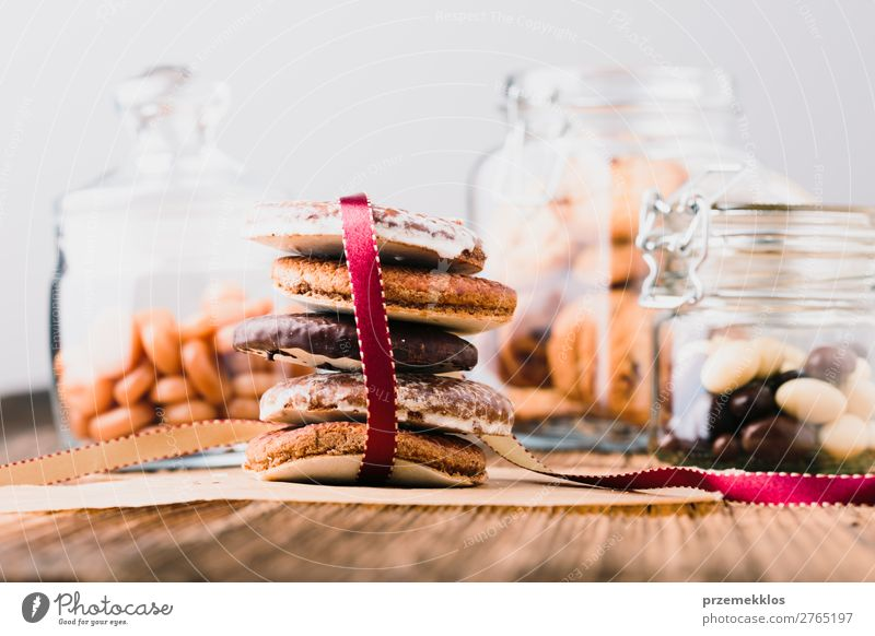 Gingerbread cookies, candies, sweets in jars on wooden table Dessert Nutrition Eating Diet Lifestyle Table To enjoy Delicious Brown Baking Bakery biscuit