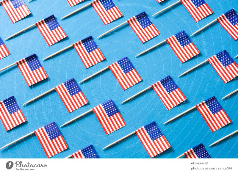 USA flags pattern on blue background. Sign Stripe Flag Blue Red White American Flag Patriotism Independence Day Pattern Background picture Veteran's Memorial