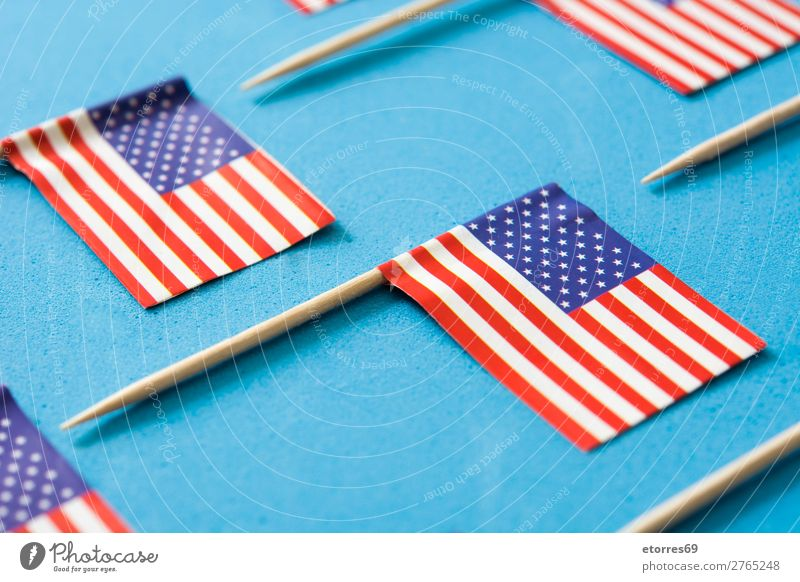USA flags pattern on blue background. Close up Sign Stripe Flag Blue Red White American Flag Patriotism Independence Day Pattern Background picture