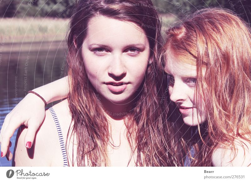 summertime Summer Human being Feminine Friendship Youth (Young adults) Head 2 Brunette Red-haired Long-haired To enjoy Embrace Fantastic Happy Contentment