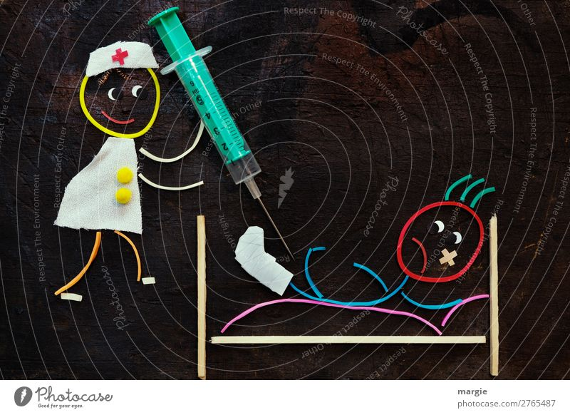 Rubber worms: Get well soon! Services Health care Human being Masculine Feminine Androgynous Child Woman Adults Man 2 Brown Multicoloured Green White Hospital