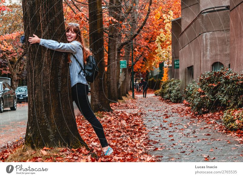 Girl at Westend in Vancouver, BC, Canada Happy Woman Adults Environment Nature Autumn Beautiful weather Tree Leaf Downtown Building Architecture Street Vehicle