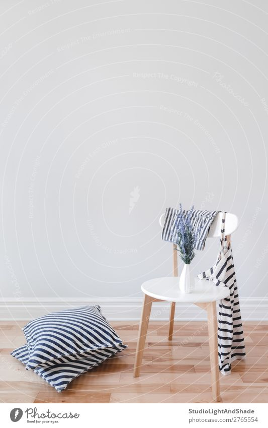 Interior with chair, striped cushions and clothes Blue Colour Beautiful White Flower House (Residential Structure) Wood Interior design Style Copy Space Gray