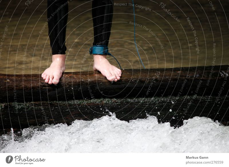 courage Human being Feet 1 Stand Wet Colour photo Exterior shot Detail Copy Space right Day Men`s feet Barefoot Edge White crest Whirlpool