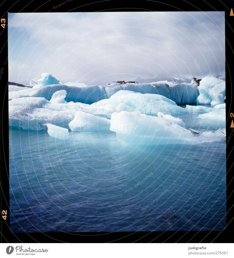 Iceland Environment Nature Landscape Water Sky Climate Climate change Frost Glacier Lake Jökulsárlón Swimming & Bathing Cold Natural Wild Blue Colour photo