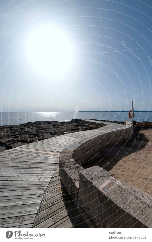 by hook or by crook Air Water Sky Sun Summer Beautiful weather Warmth Coast Ocean Mediterranean sea Port City Wall (barrier) Wall (building) Lanes & trails
